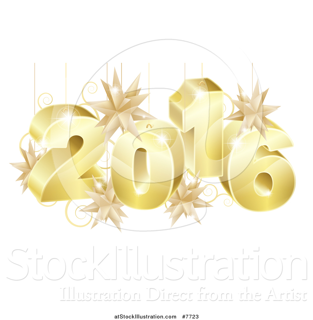 Gold star ornaments - Vector Illustration Of A 3d Gold New Year 2016 With Suspended Star Ornaments