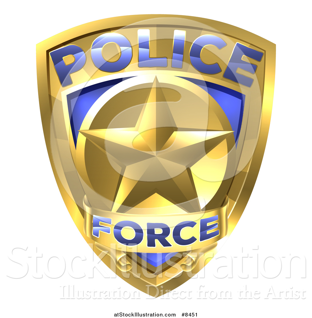 vector illustration of a 3d gold plice force badge with a star by