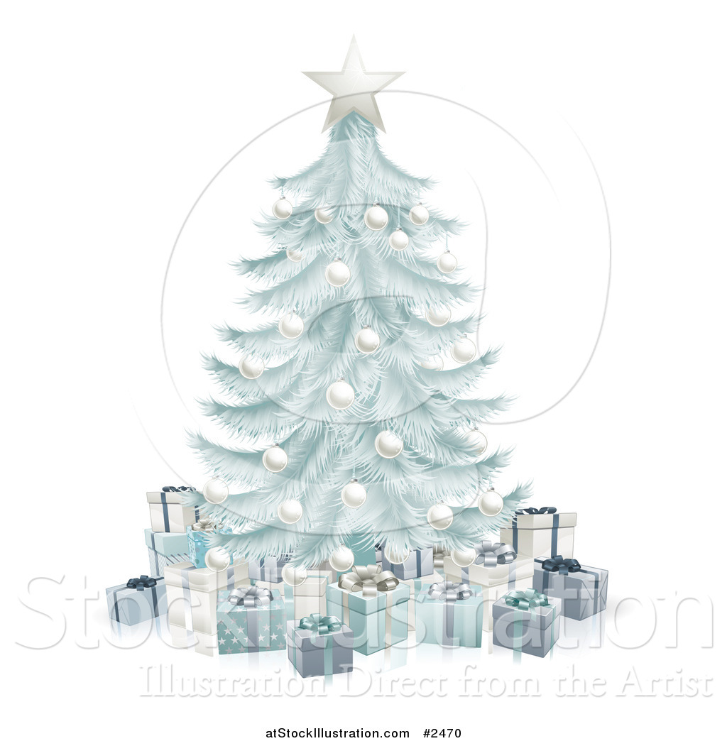 vector illustration of a 3d silver blue christmas tree with gift