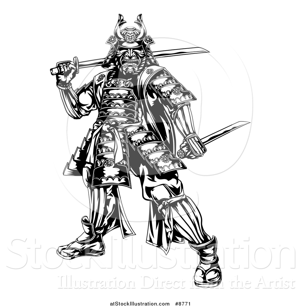 vector illustration of a black and white engraved samurai japanese clip art color book japanese clip art coloring pages