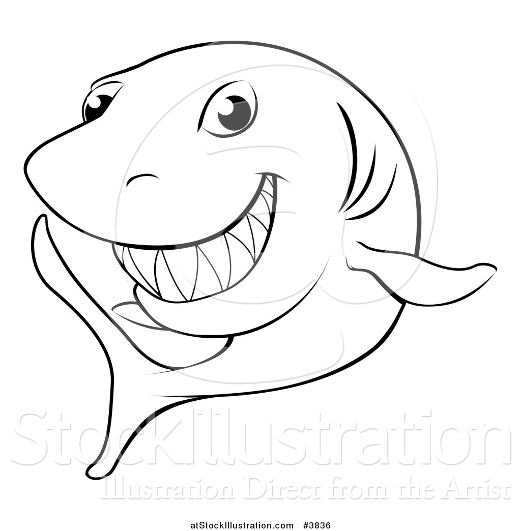 Vector Illustration Of A Black And White Grinning Shark