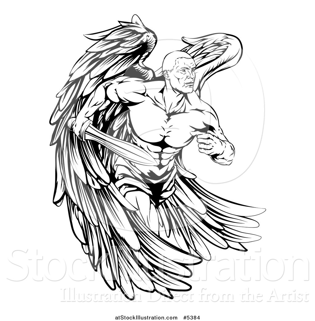 Vector Illustration of a Black and White Muscular Male ...