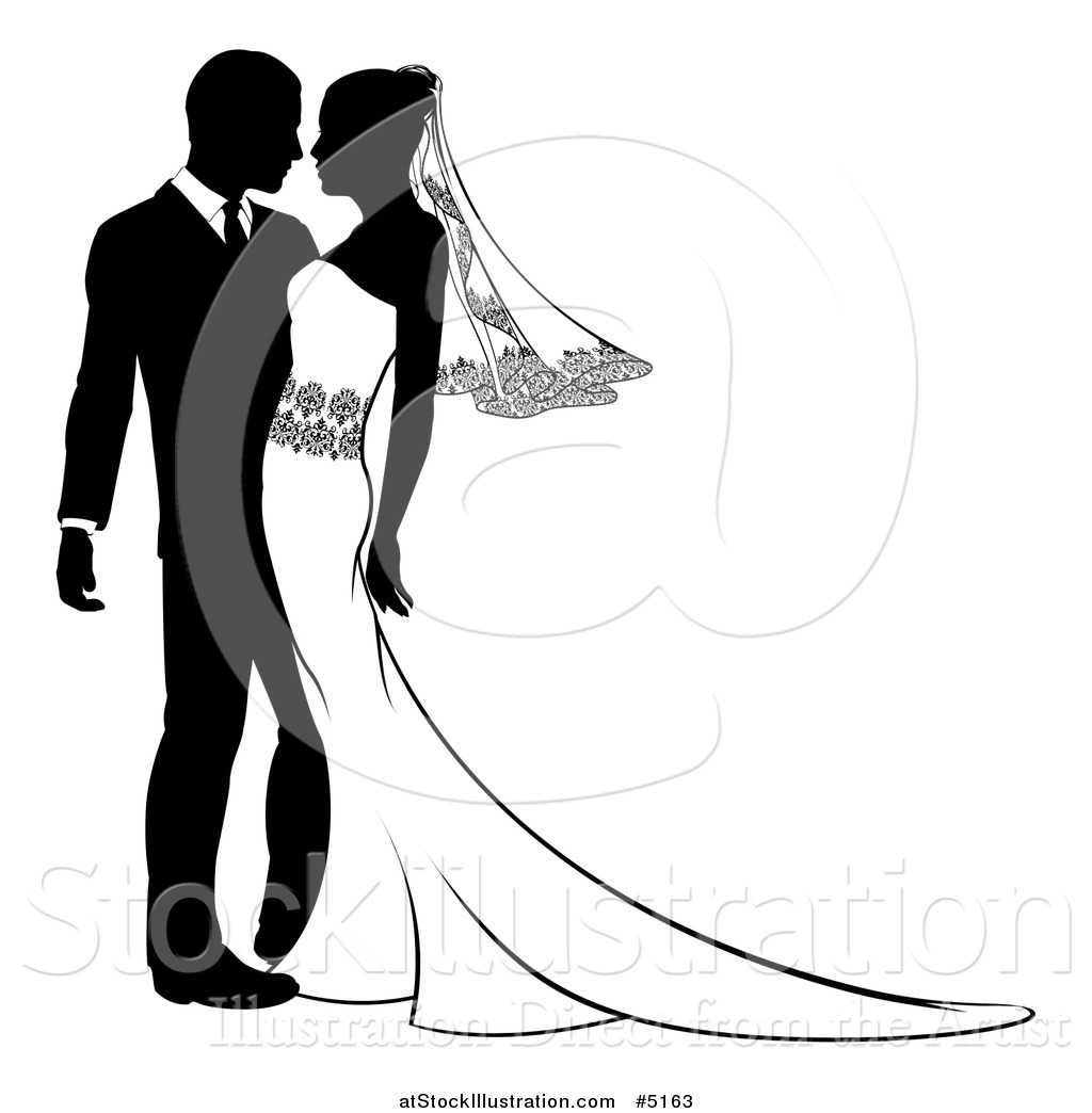 Vector Illustration of a Black and White Passionate Bride and ...