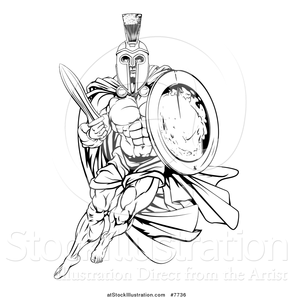 vector illustration of a black and white strong spartan trojan logisitcs trojan logistics