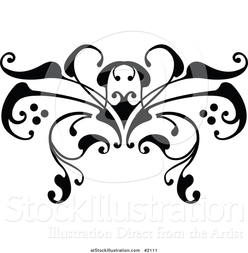 vector illustration of a black and white swirl butterfly