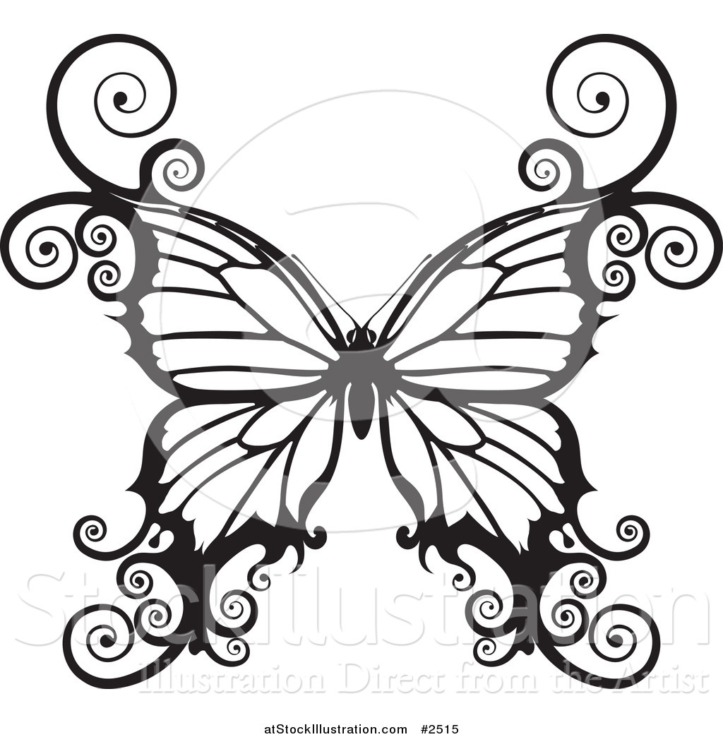 vector illustration of a black and white swirly butterfly by