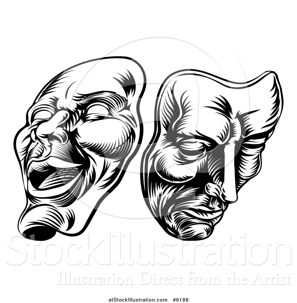 Vector Illustration Of Black And White Woodcut Comedy Tragedy Theater Masks By Atstockillustration Theatermasken Happy Sad Stock Photo