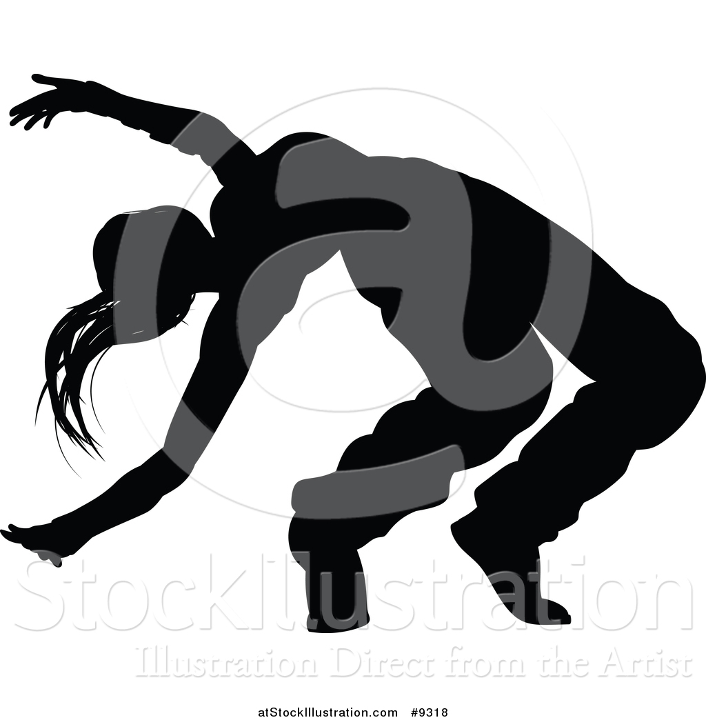 Hip hop dancing clipart black and white