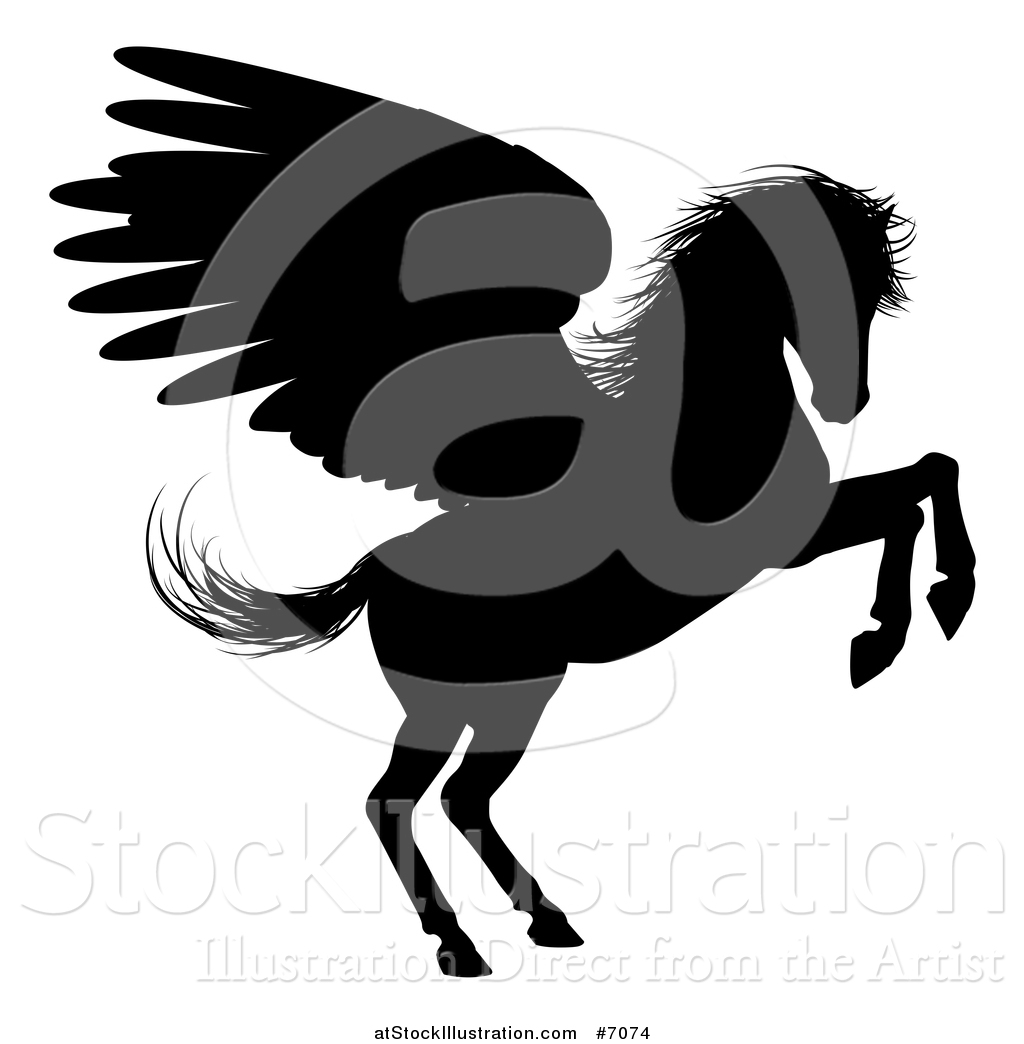 vector illustration of a black silhouetted rearing winged pegasus