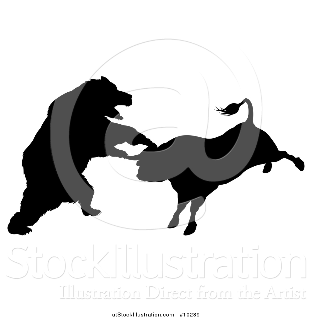 Vector Illustration Of A Black Silhouetted Stock Market