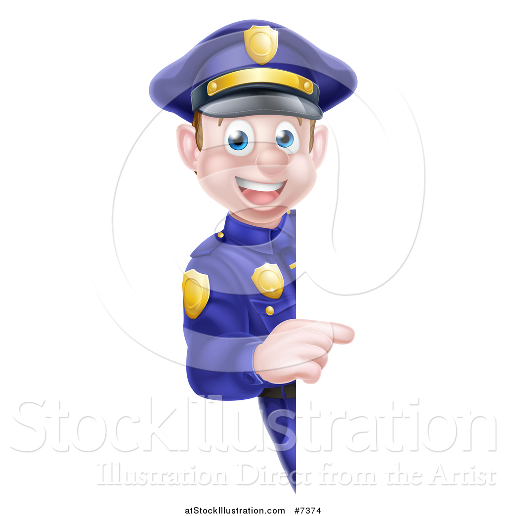 vector illustration of a cartoon happy caucasian male police