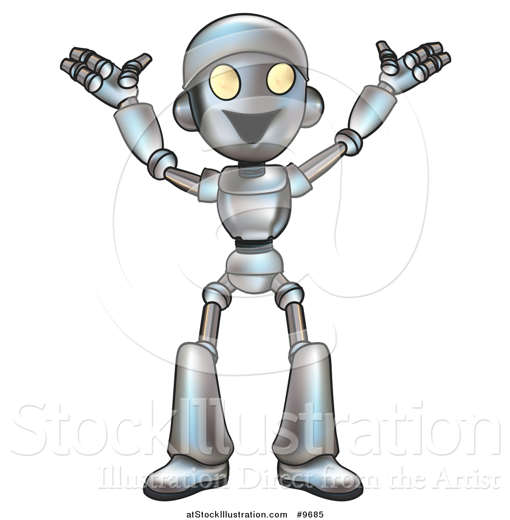 vector illustration of a cartoon happy robot cheering by may clip art images may clip art pictures