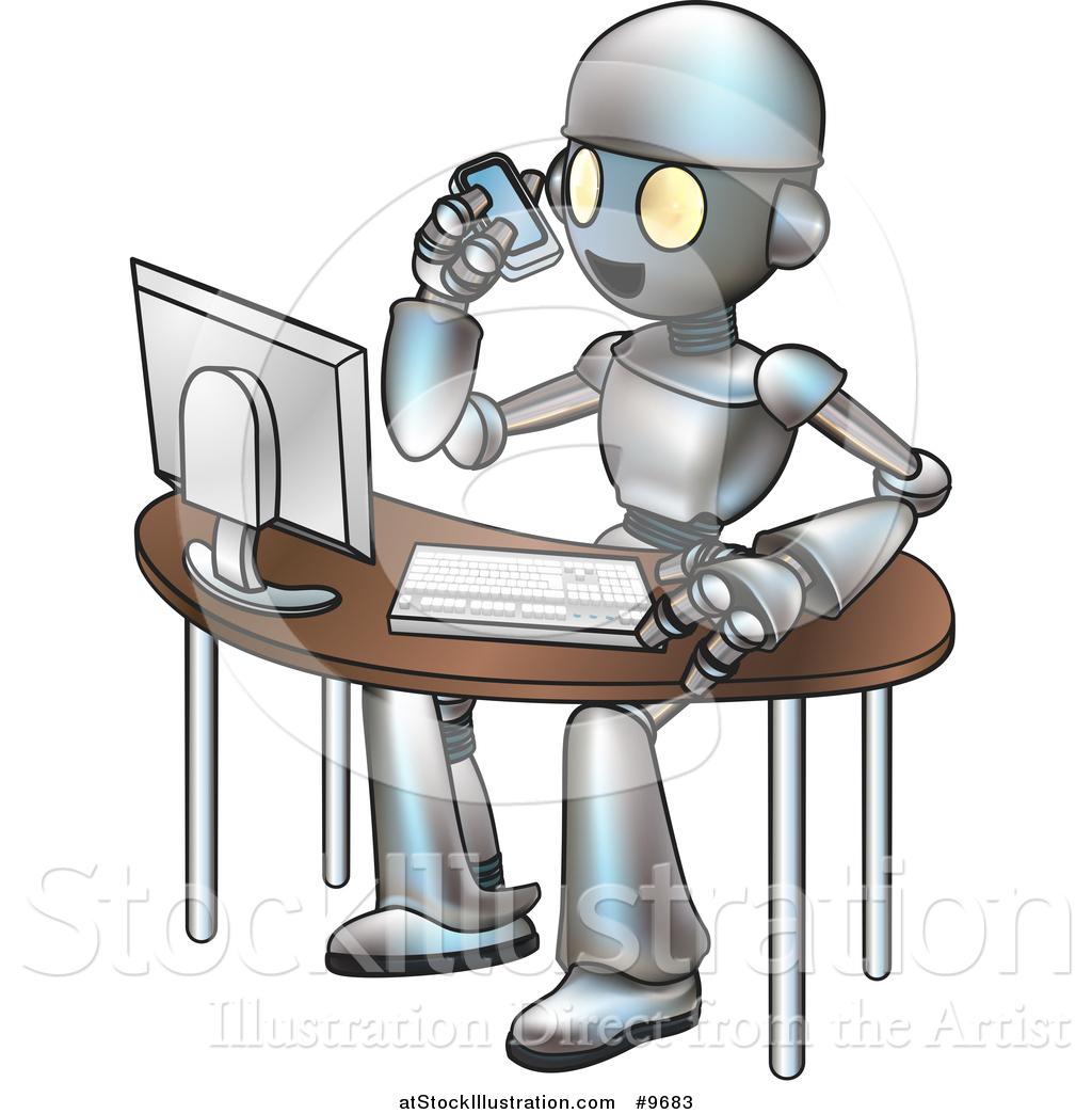 Vector Illustration Of A Cartoon Robot Talking On A Cell