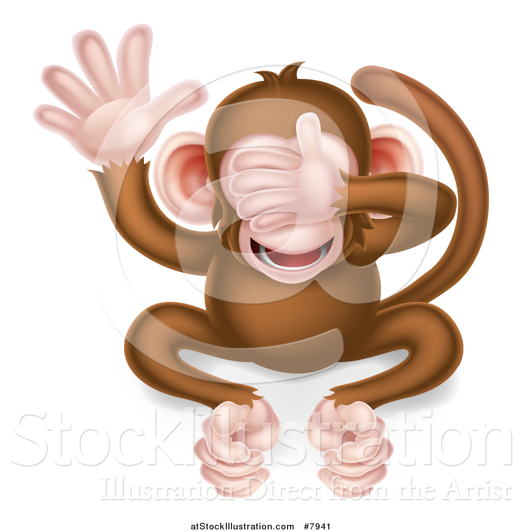 Vector Illustration of a Cartoon See No Evil Wise Monkey Covering ...