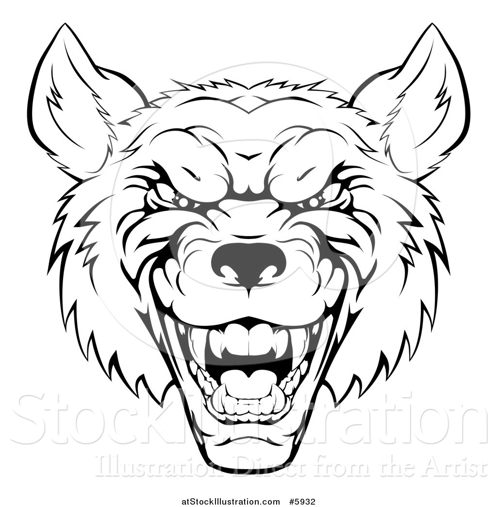 Vector Illustration Of A Growling Black And White Aggressive Wolf Face How  To Draw Wolves