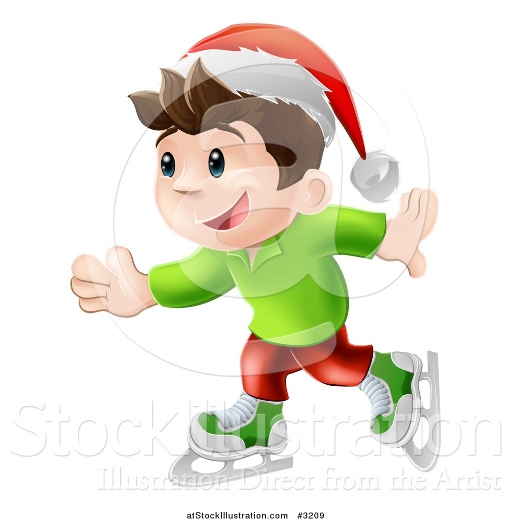 vector illustration of a happy christmas elf boy ice skating and