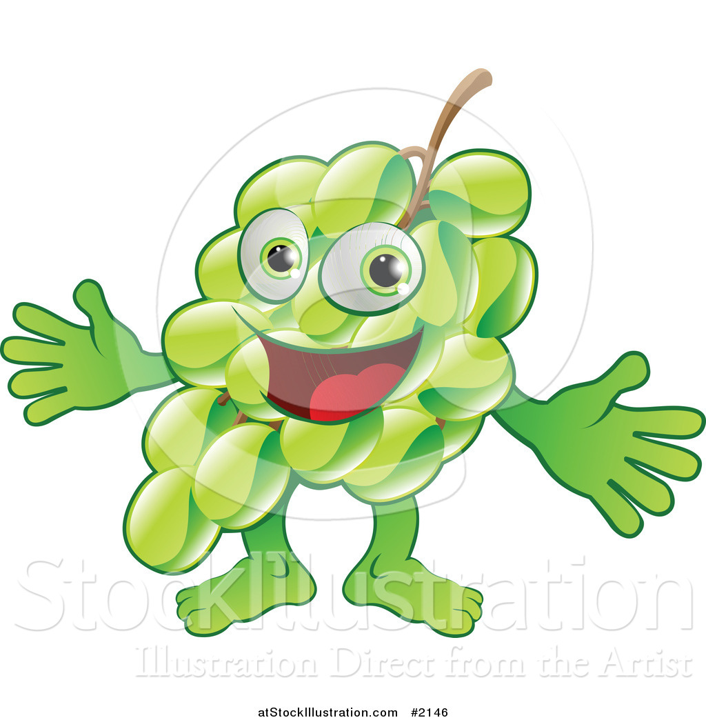 Vector Illustration of a Happy Green Grape Character ...