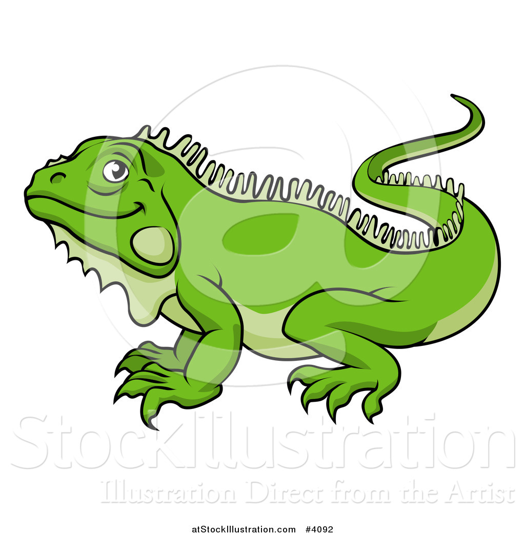 vector illustration of a happy green iguana lizard by