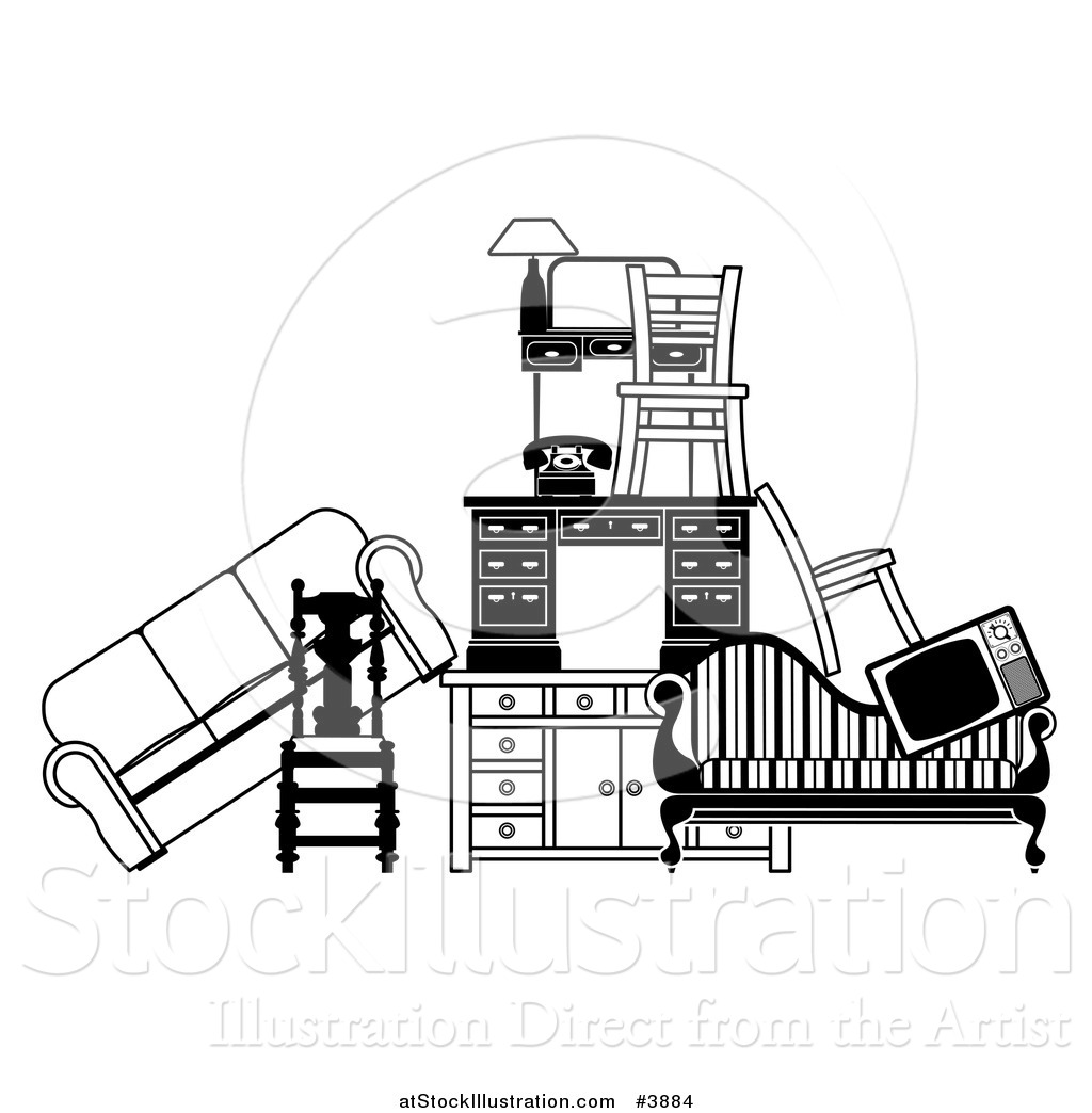 vector illustration of a pile of black and white furniture