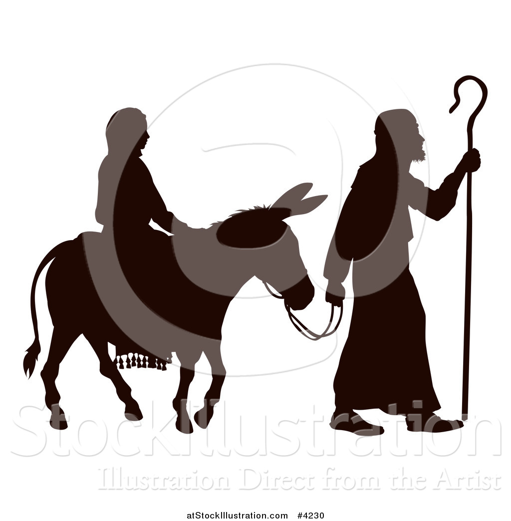 vector illustration of a silhouette of mary and joseph