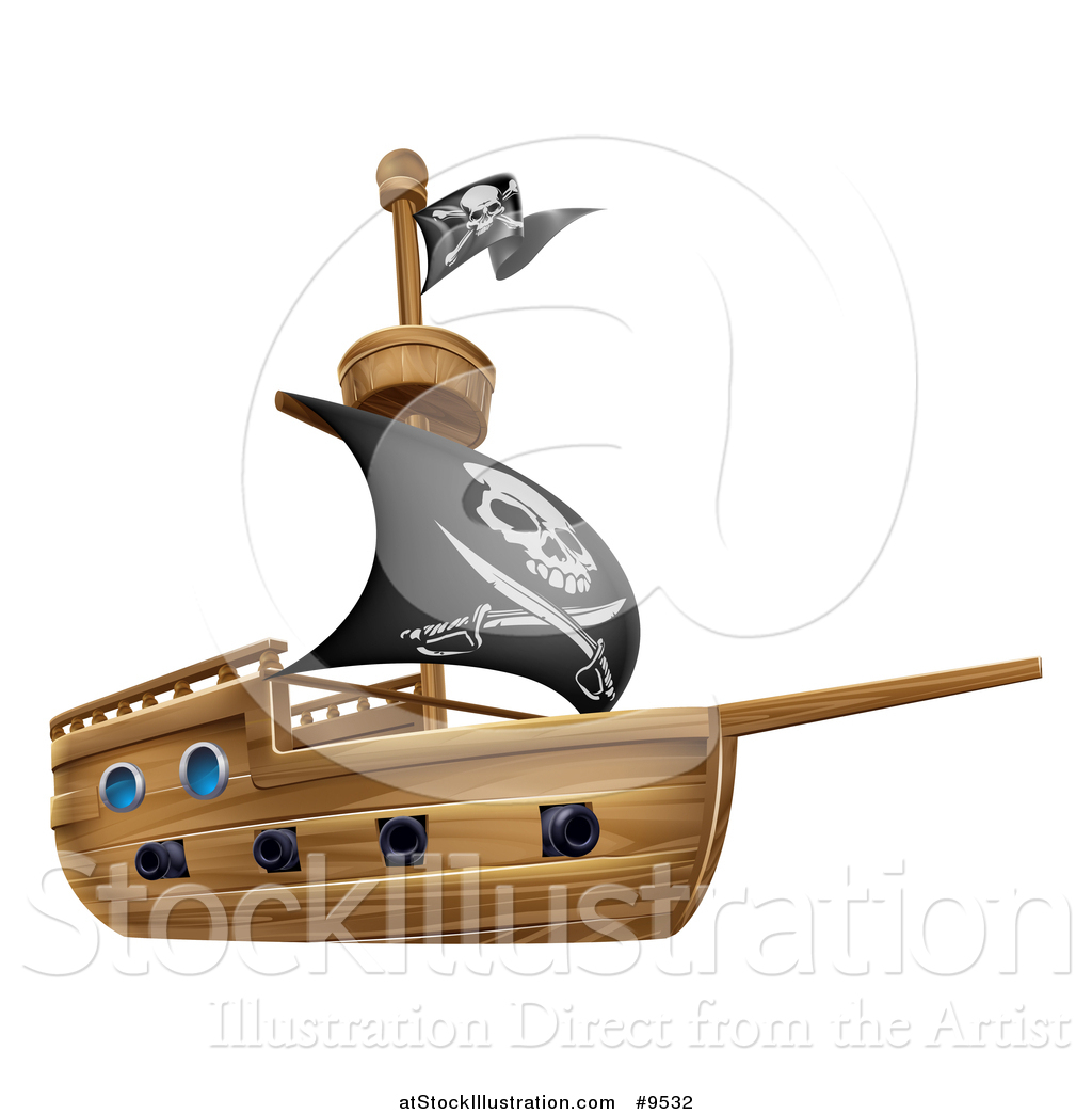 vector illustration of a wooden pirate ship with a jolly roger