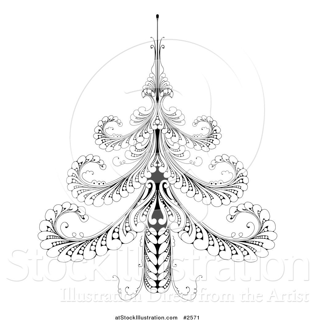 vector illustration of an ornate black and white swirl christmas