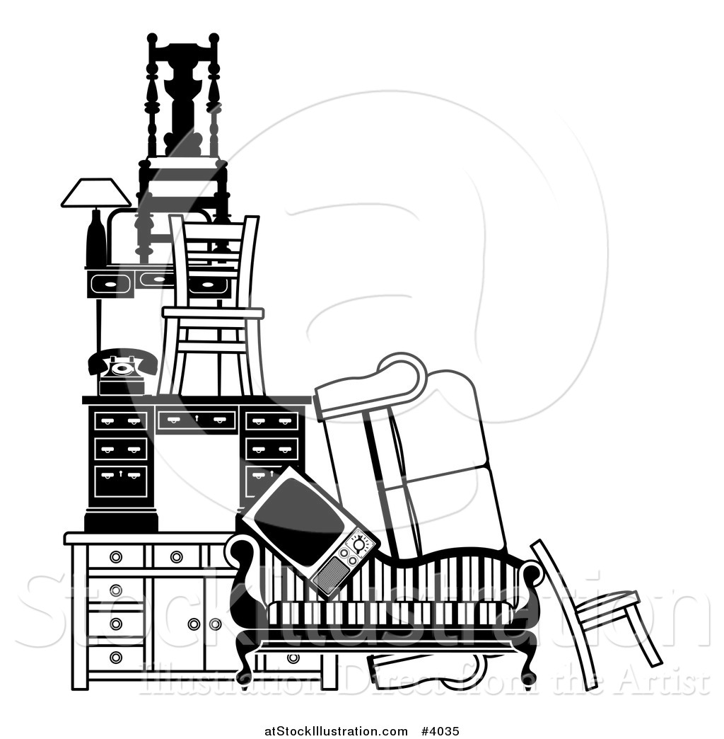 Vector Illustration Of Pile Of Black And White Furniture