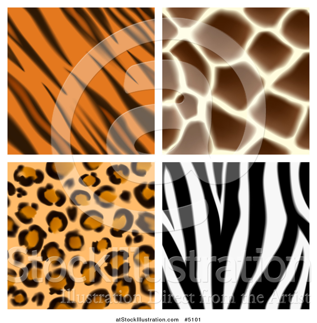 vector illustration of seamless giraffe leopard zebra and tiger