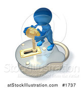 Illustration of a 3d Blue Guy Standing on a Big Padlock and Turning a Key by AtStockIllustration