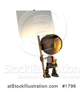Illustration of a 3d Business Man Character Mascot Standing Holding a Sign Placard on a Pole by AtStockIllustration