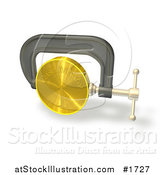 Illustration of a 3d Clamp Vice Squeezing a Gold Coin, Credit Crunge by AtStockIllustration