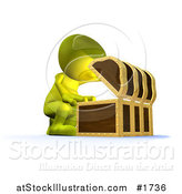 Illustration of a 3d Green Man Opening up a Treasure Chest by AtStockIllustration