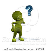 Illustration of a 3d Green Man Pondering and Looking at a Question Mark by AtStockIllustration