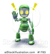 Illustration of a 3d Green Robot Character Holding a Hand up to Stop by AtStockIllustration