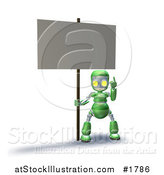 Illustration of a 3d Green Robot Character Pointing up and Holding a Blank Sign by AtStockIllustration
