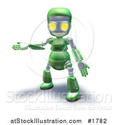 Illustration of a 3d Green Robot Character Presenting to the Left by AtStockIllustration