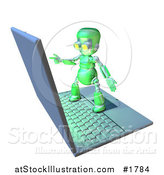 Illustration of a 3d Green Robot Character Standing on a Giant Laptop by AtStockIllustration