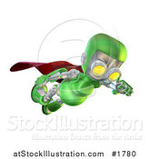 Illustration of a 3d Green Robot Character Super Hero Flying and Looking down by AtStockIllustration