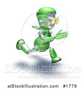 Illustration of a 3d Green Robot Character Sweating and Sprinting by AtStockIllustration