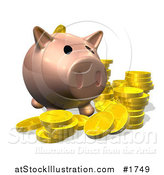 Illustration of a 3d Pig Bank with Golden Goins by AtStockIllustration