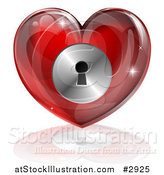 Illustration of a 3d Red Locked Heart with a Key Hole by AtStockIllustration