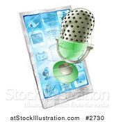 Illustration of a 3d Retro Microphone Emerging from a Cell Phone by AtStockIllustration