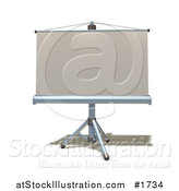 Illustration of a 3d Roll down Projection Screen on a Tripod by AtStockIllustration