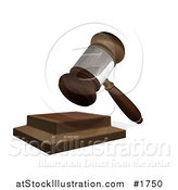 Illustration of a 3d Wooden Judges Gavel Hitting the Block by AtStockIllustration
