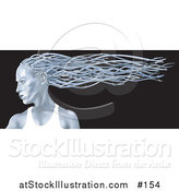 Illustration of a Blue Metallic Futuristic Woman in Profile with Her Hair Flowing in the Breeze Behind Her by AtStockIllustration