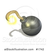 Illustration of a Burning Yellow Fuse on a 3d Bomb by AtStockIllustration