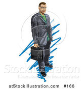 Illustration of a Business Man Holding a Briefcase by AtStockIllustration