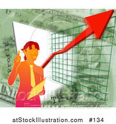 Illustration of a Business Woman Standing over a Presentation Graph and Green by AtStockIllustration