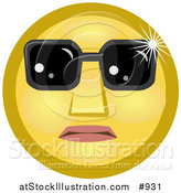 Illustration of a Celebrity Yellow Smiley Face Wearing Dark Shades over Its Eyes by AtStockIllustration