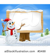 Illustration of a Christmas Snowman Presenting a Wooden Sign by AtStockIllustration